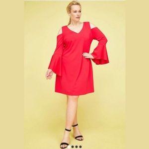 Lane Bryant Red Bell Sleeve Cold Shoulder Dress
